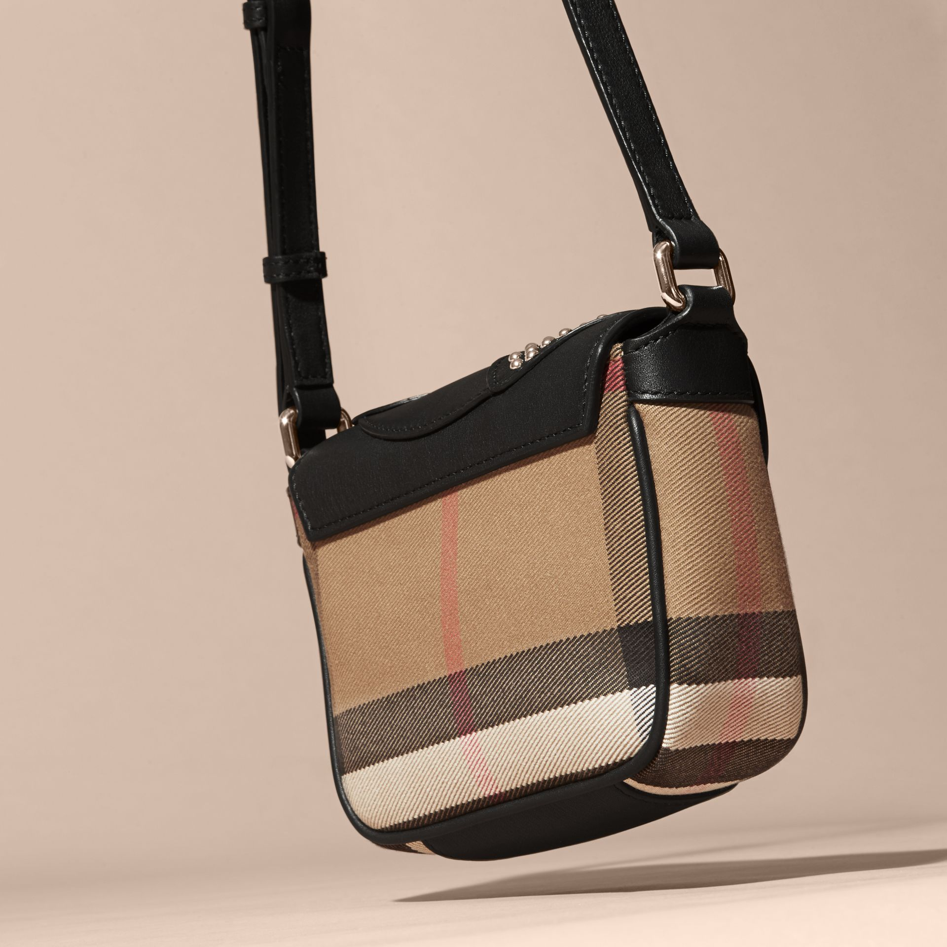 Black Canvas Check and Studded Ladybird Leather Crossbody Bag - gallery image 4