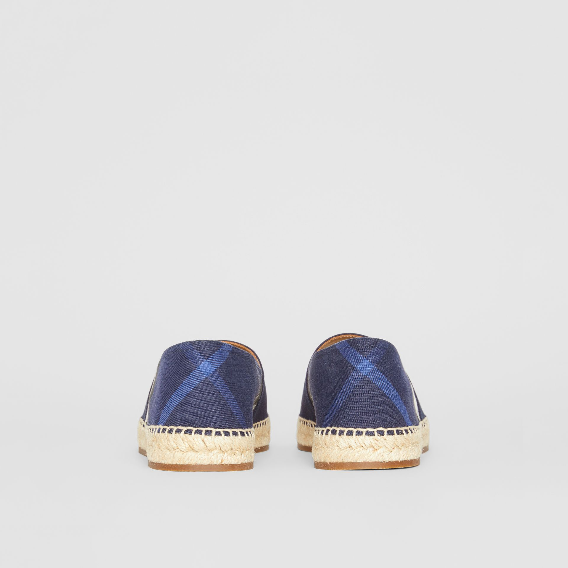 Overdyed House Check and Cotton Canvas Espadrilles in Indigo Blue - Men | Burberry Canada - gallery image 4