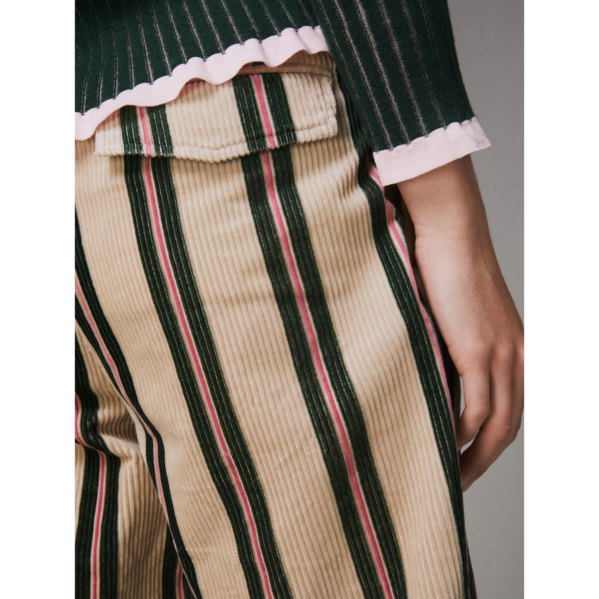 Roll-up Cuff Striped Corduroy Trousers in Stone - Women | Burberry - gallery image 1