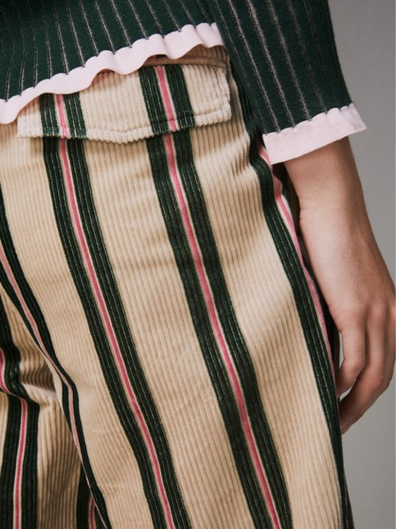 Roll-up Cuff Striped Corduroy Trousers in Stone - Women | Burberry - cell image 1