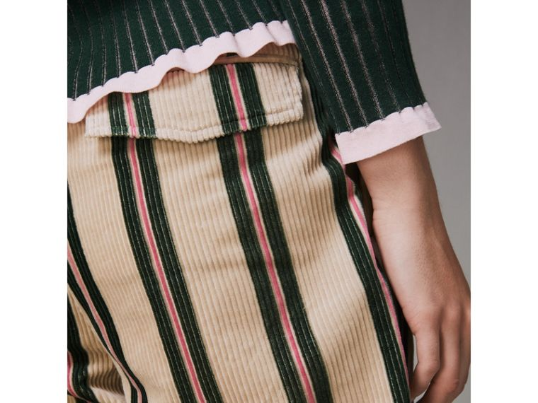 Roll-up Cuff Striped Corduroy Trousers in Stone - Women | Burberry Singapore - cell image 1