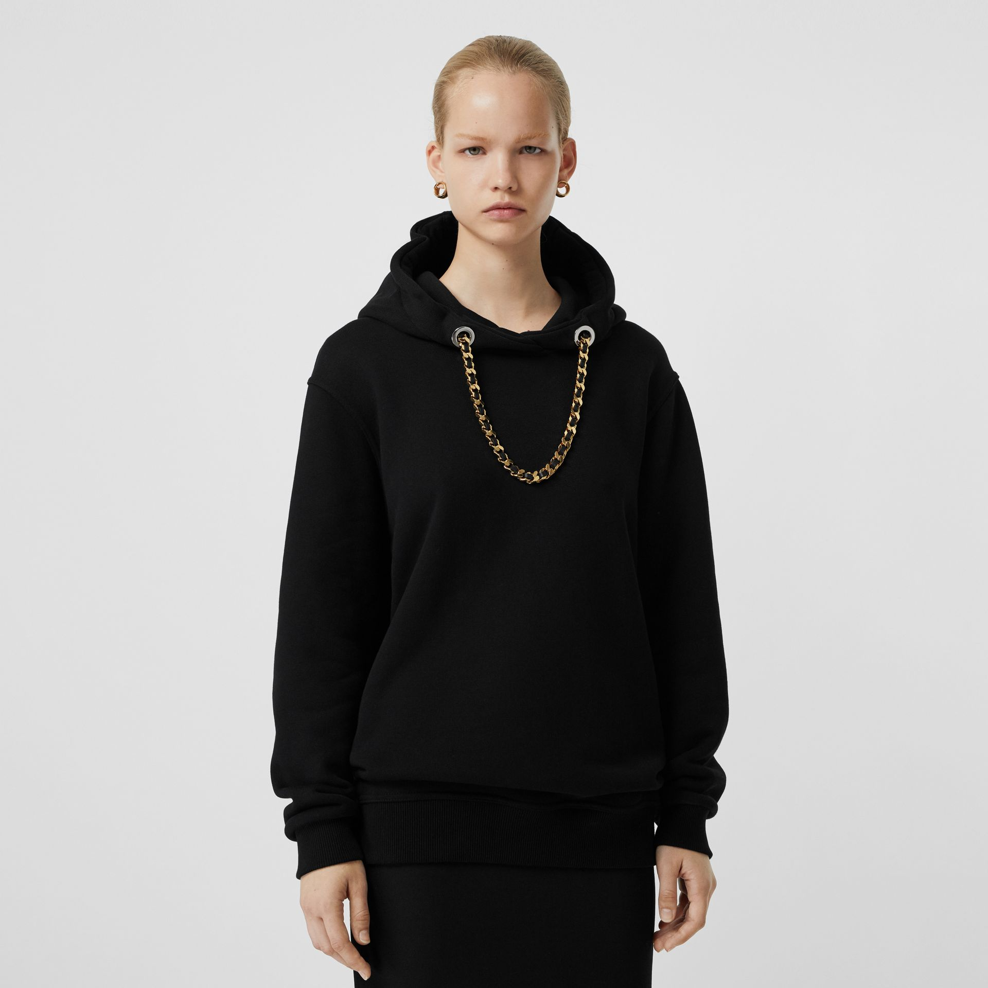 Chain Detail Cotton Oversized Hoodie in Black - Women | Burberry Hong Kong - gallery image 4