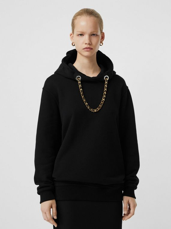 Chain Detail Hoodie in Black