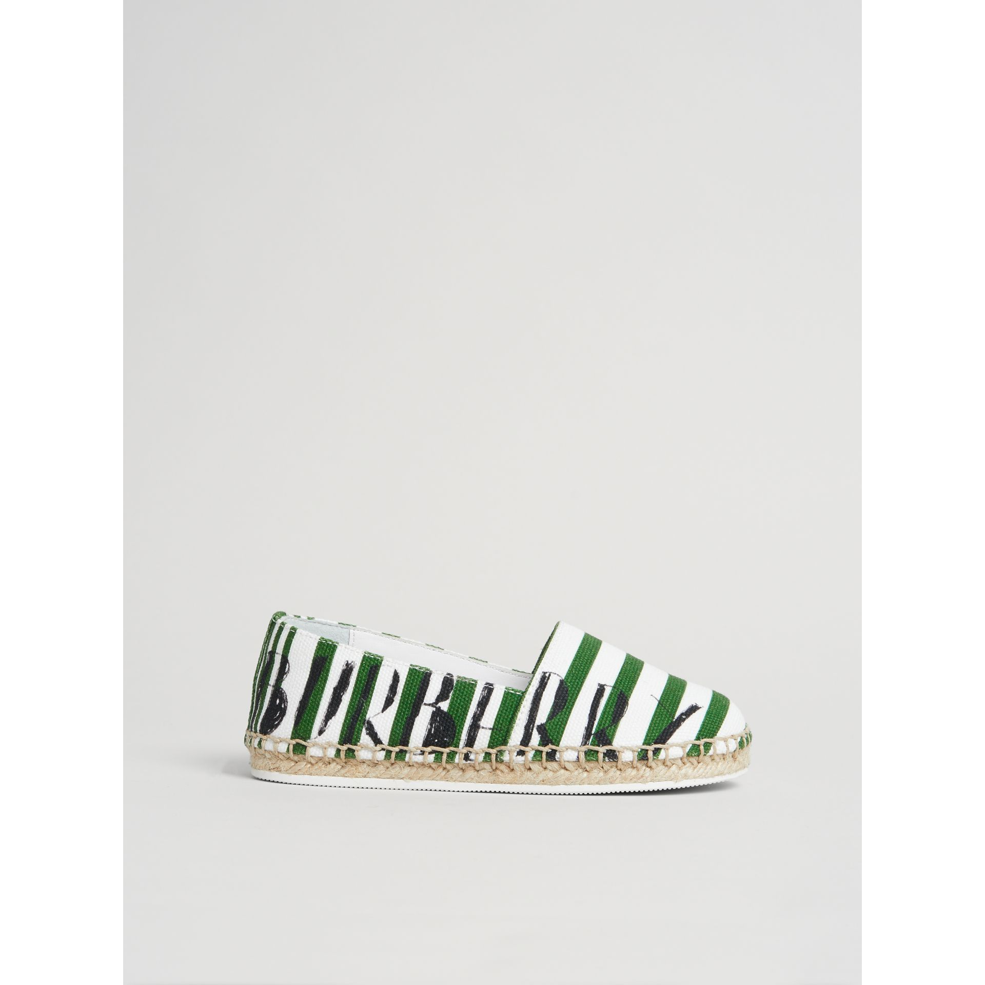 SW1 Print Striped Cotton Espadrilles in Bright Fern Green | Burberry - gallery image 3