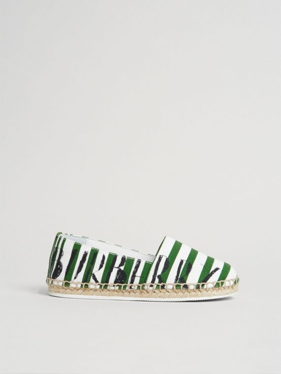 SW1 Print Striped Cotton Espadrilles in Bright Fern Green | Burberry United Kingdom - cell image 3