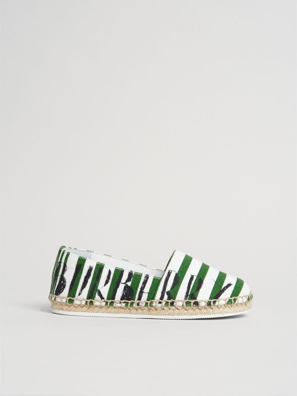 SW1 Print Striped Cotton Espadrilles in Bright Fern Green | Burberry - cell image 3