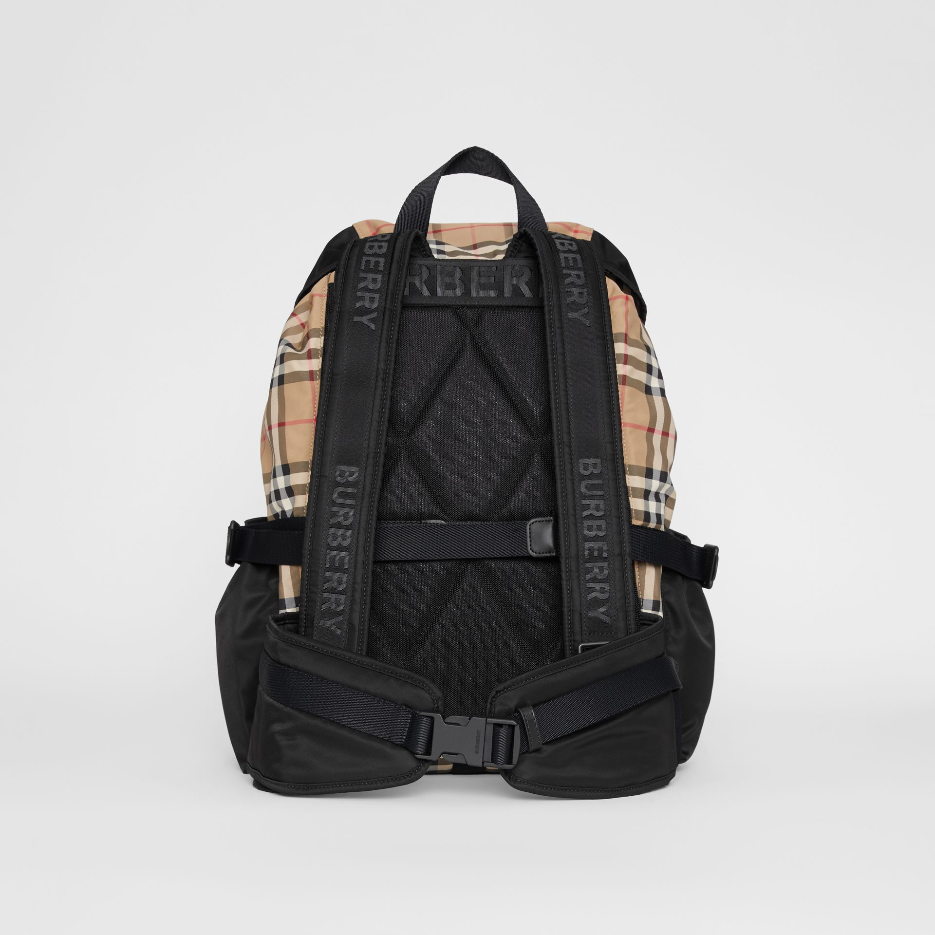 Logo Print Vintage Check Backpack in Archive Beige - Women | Burberry - gallery image 7