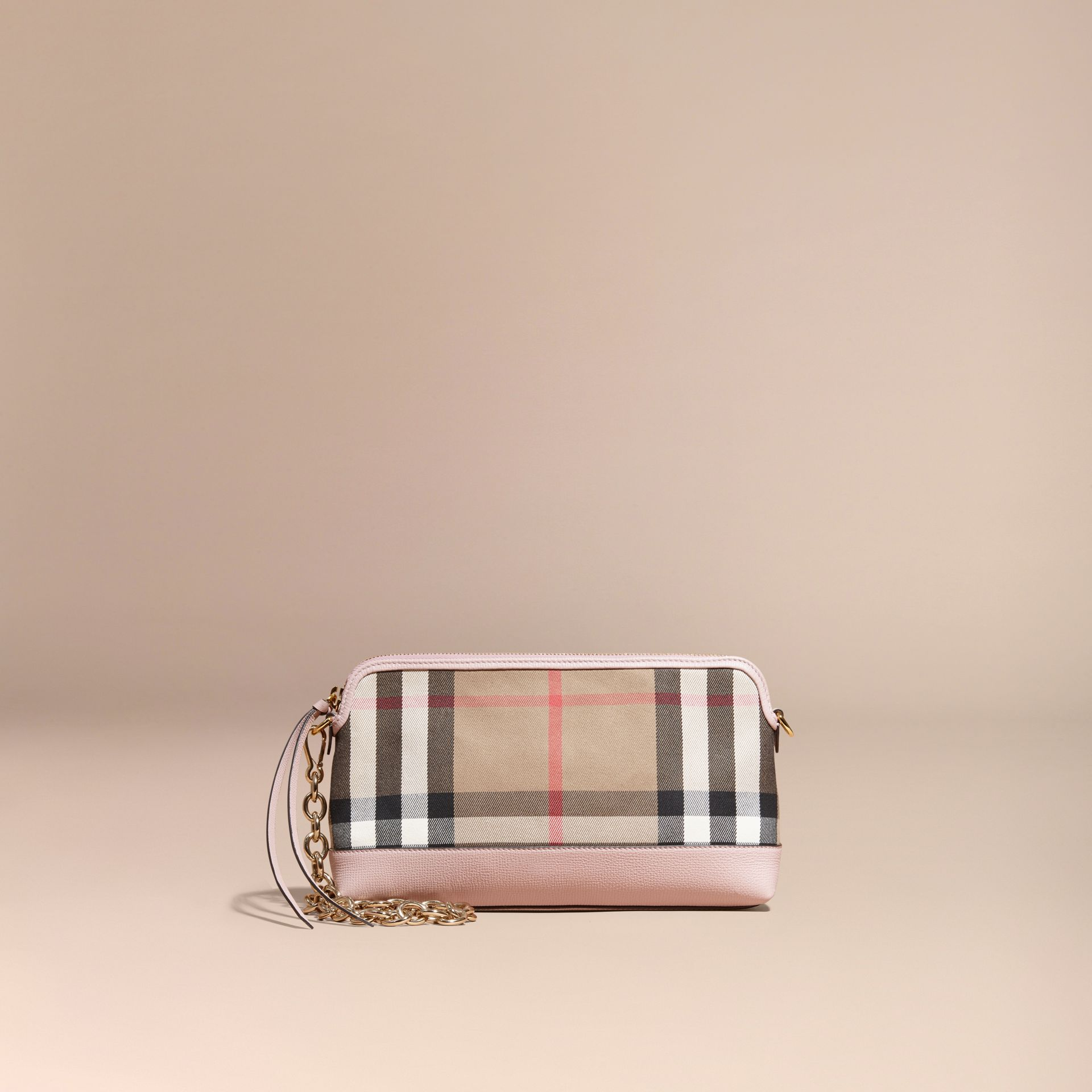 House Check and Leather Clutch Bag in Pale Orchid - Women | Burberry United Kingdom - gallery image 9