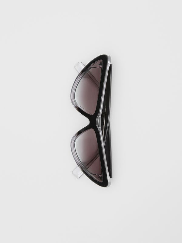 Gradient Detail Triangular Frame Sunglasses in Black - Women | Burberry - cell image 3