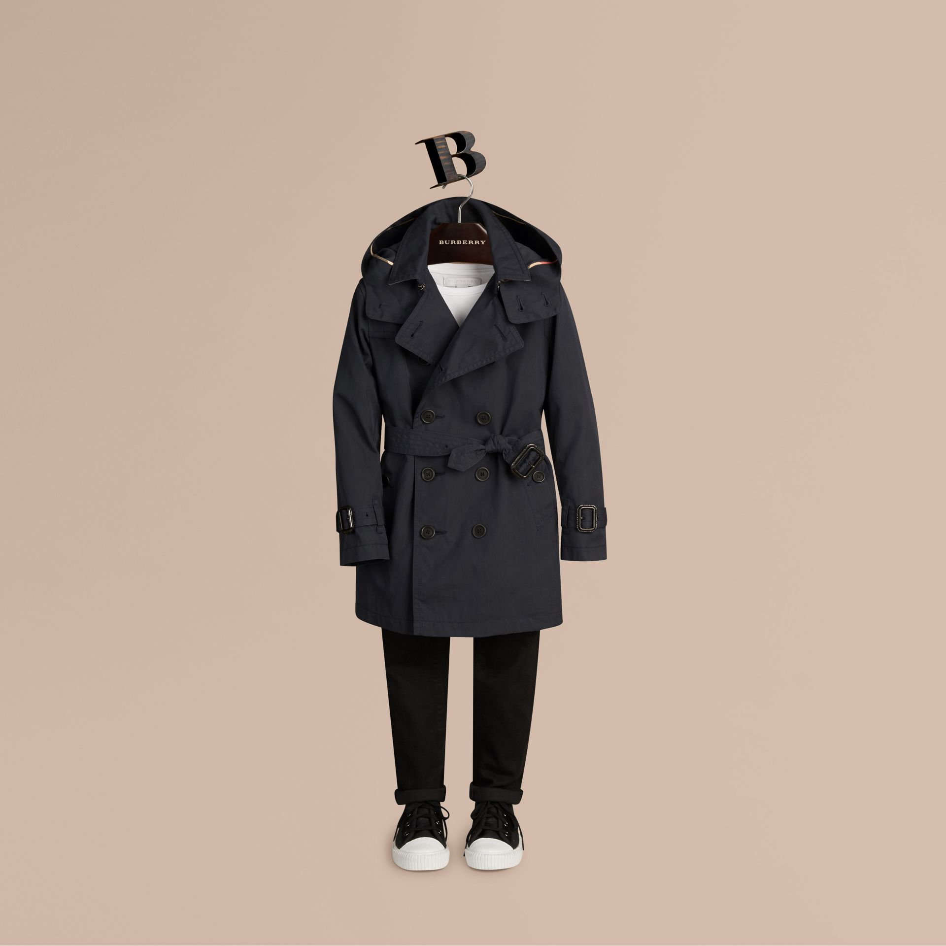 Hooded Cotton Twill Trench Coat Navy - gallery image 1