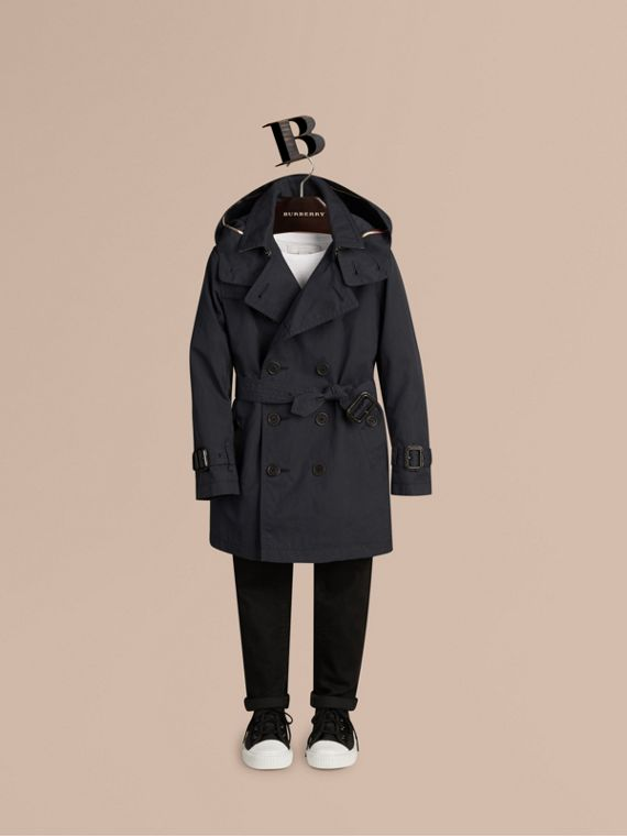 Hooded Cotton Twill Trench Coat in Navy