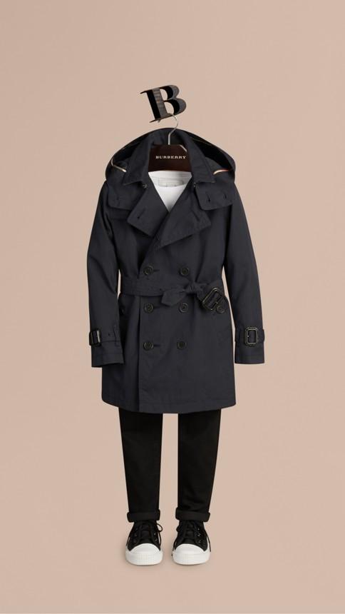 Marine Trench-coat à capuche en sergé de coton Marine - Image 1