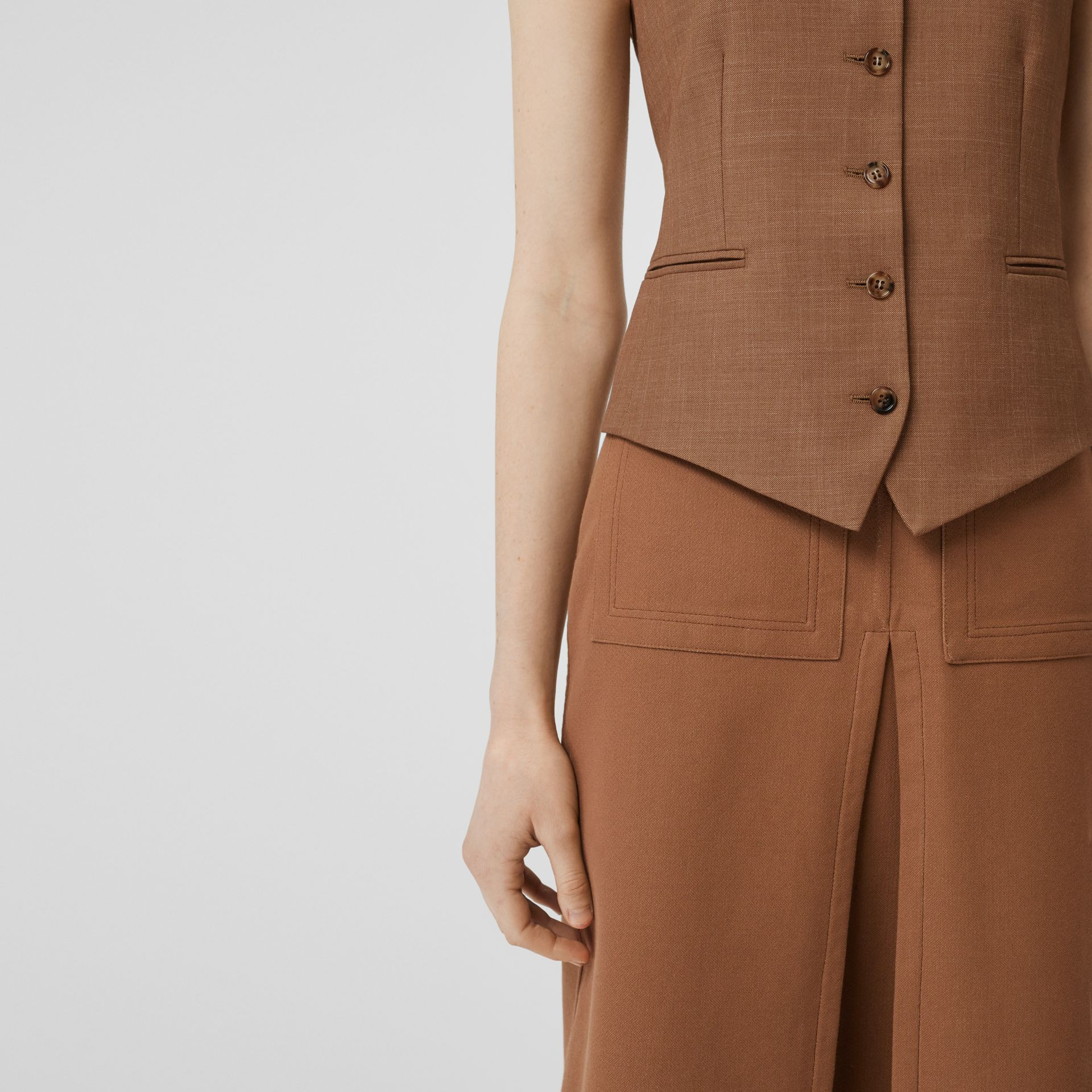 Satin Panel Mohair Wool Blend Tailored Waistcoat in Bronze - Women | Burberry - gallery image 5