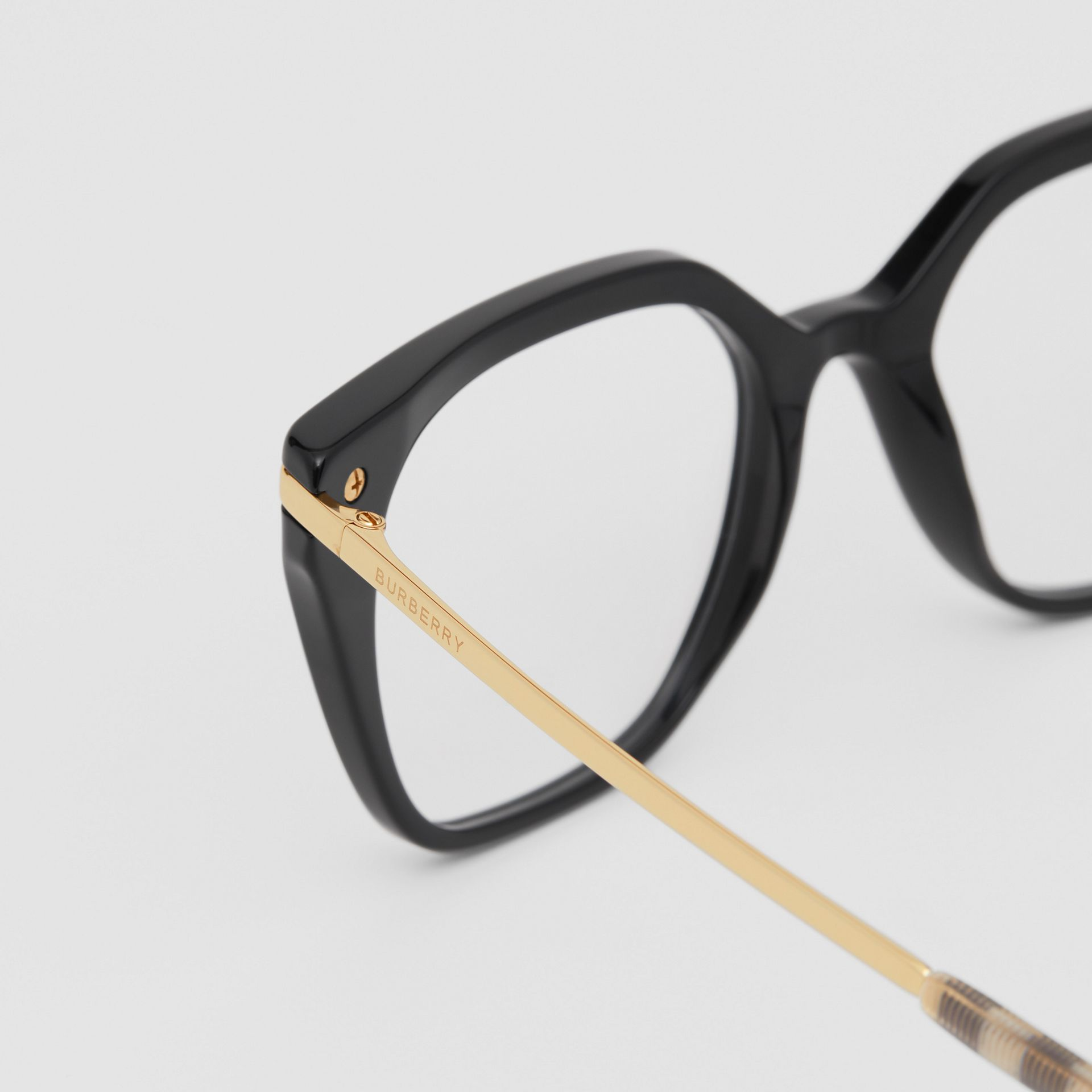 Vintage Check Detail Square Optical Frames in Black/archive Beige - Women | Burberry Canada - gallery image 1