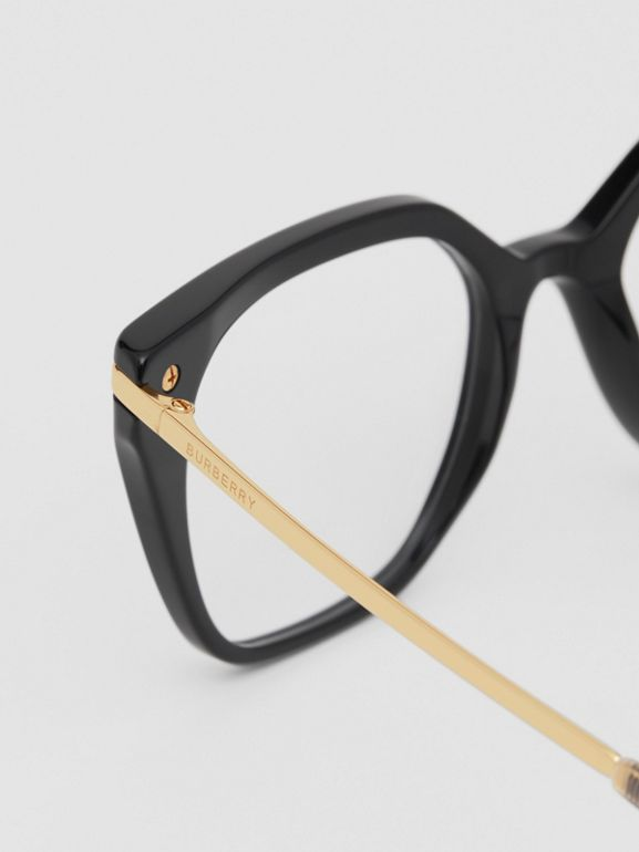 Vintage Check Detail Square Optical Frames in Black/archive Beige - Women | Burberry Canada - cell image 1