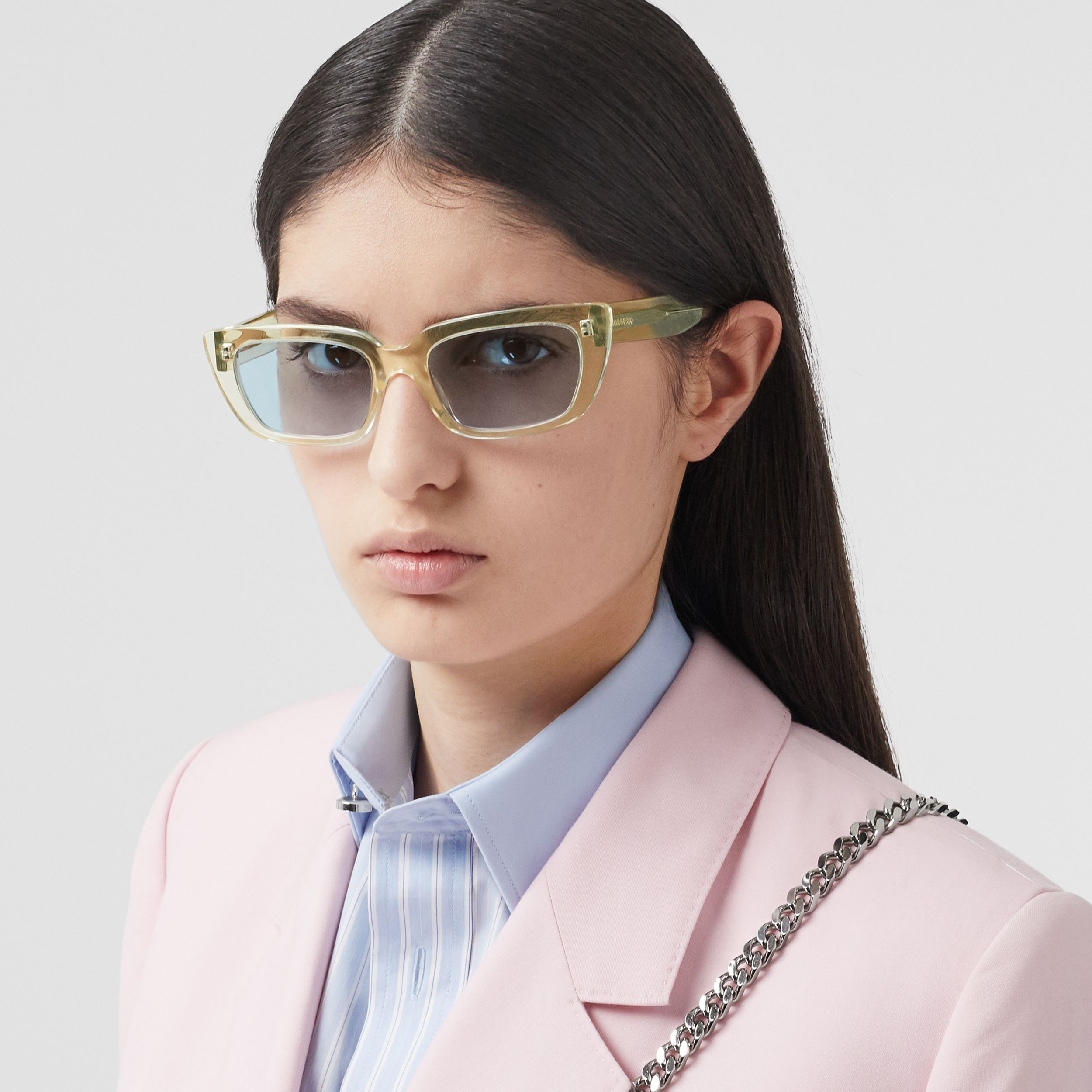 Bio-acetate Rectangular Frame Sunglasses in Pale Yellow - Women | Burberry - 3
