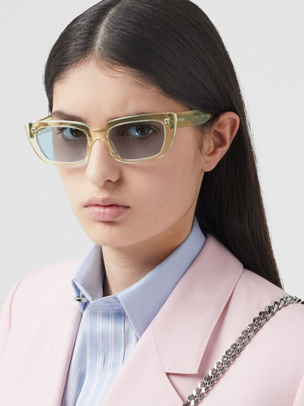 Bio-acetate Rectangular Frame Sunglasses in Pale Yellow | Burberry Australia - cell image 2