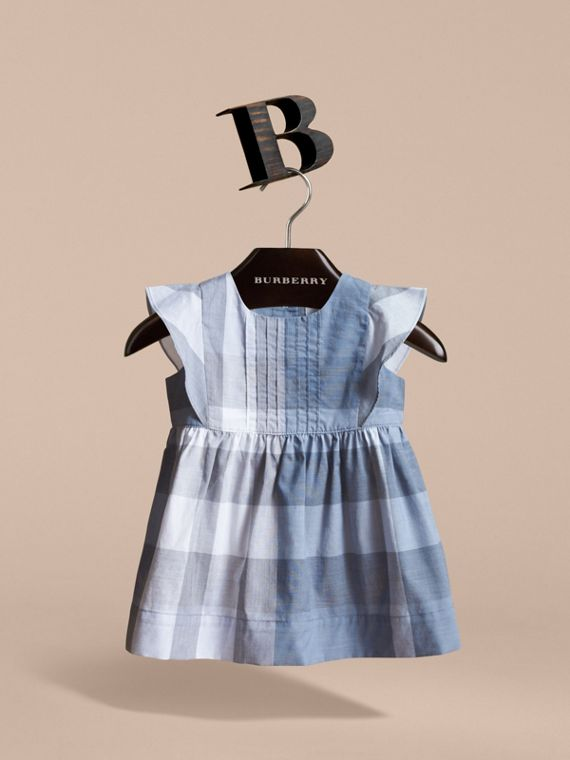 Ruffle Detail Check Cotton Dress in Canvas Blue | Burberry - cell image 2