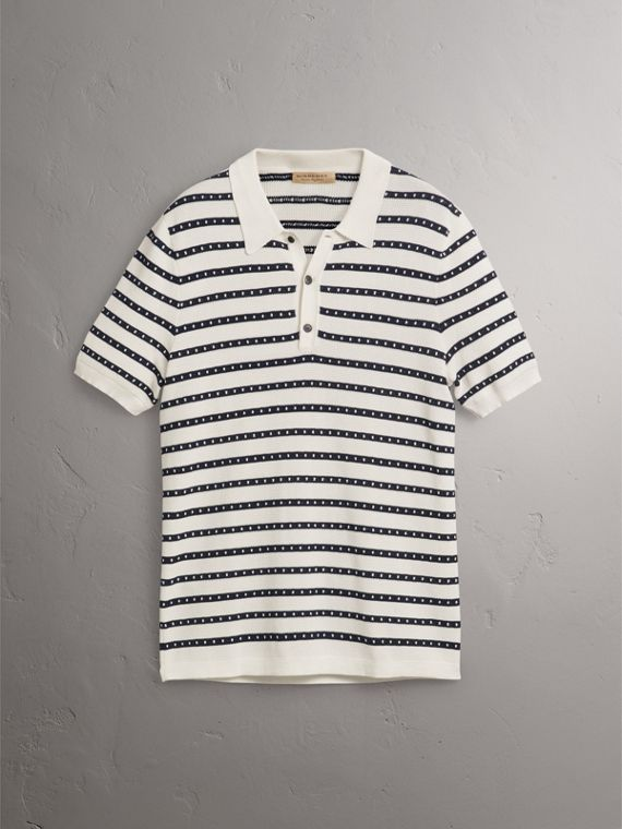 Striped Knitted Cotton Polo Shirt in Natural White - Men | Burberry - cell image 3