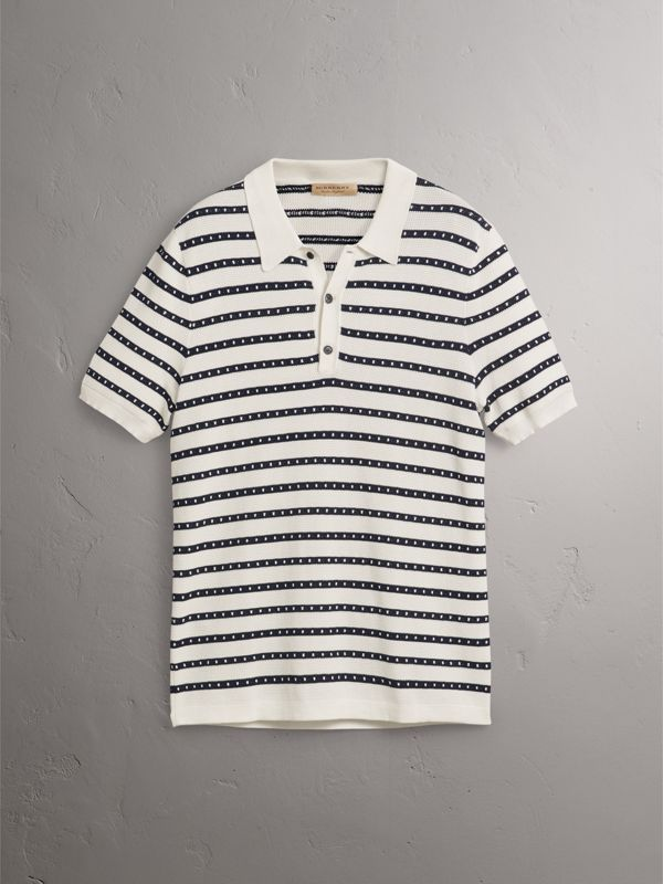 Striped Knitted Cotton Polo Shirt in Natural White - Men | Burberry United Kingdom - cell image 3