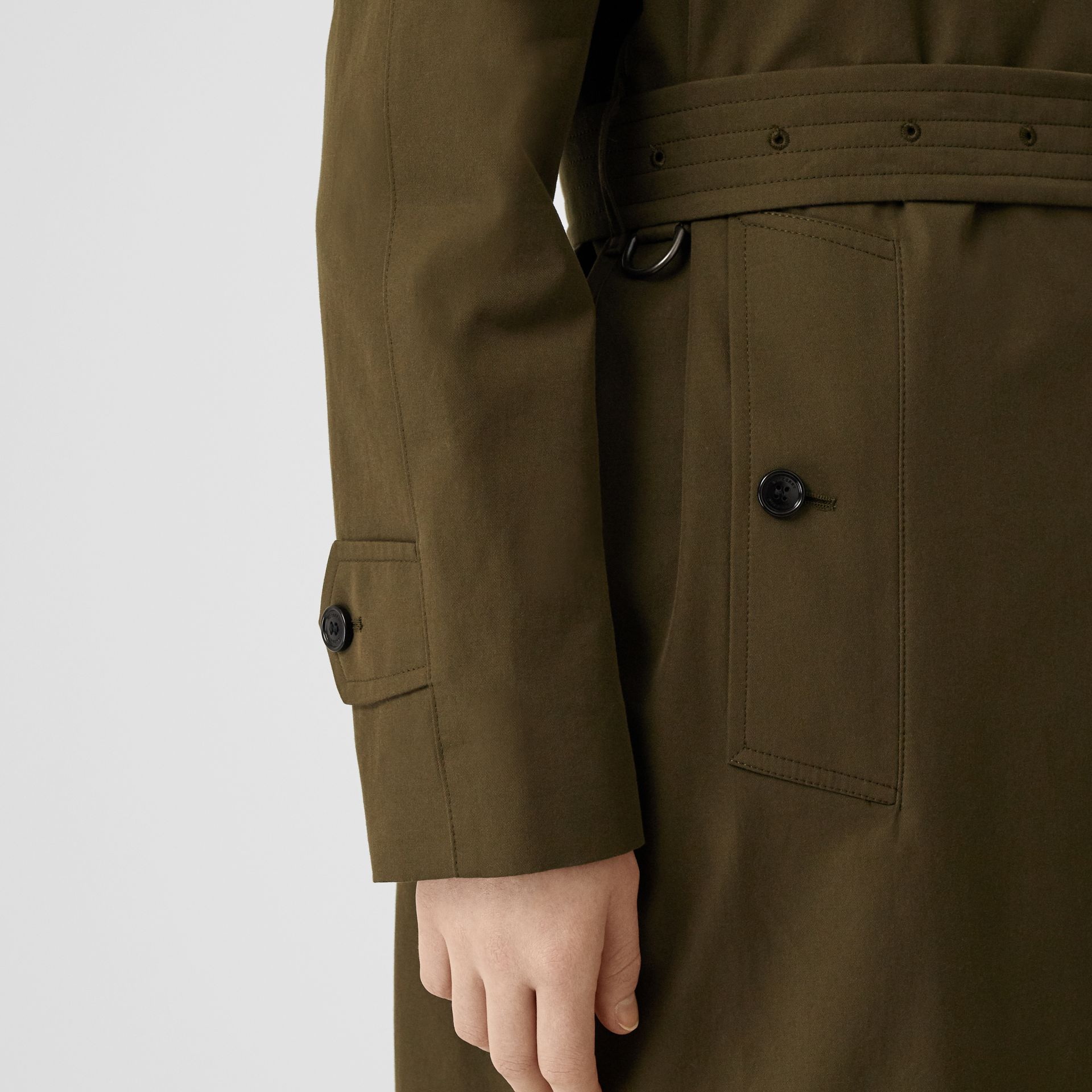 Tropical Gabardine Belted Car Coat in Dark Military Khaki - Women | Burberry - gallery image 4