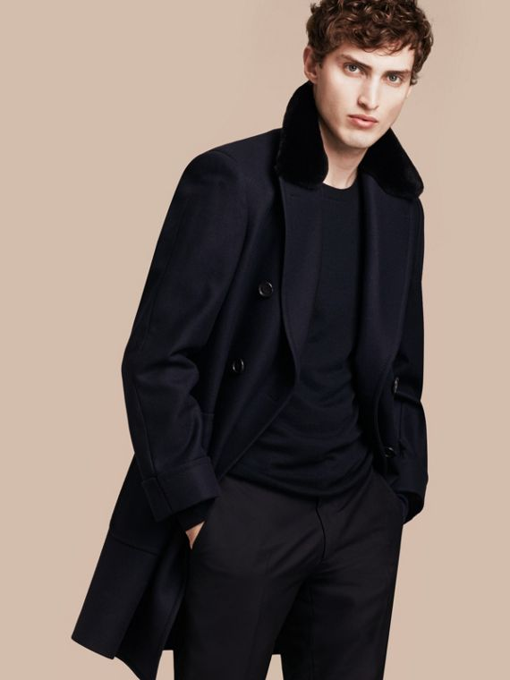 Double-breasted Technical Wool Cashmere Fur Collar Coat
