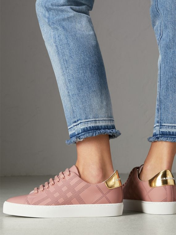 Perforated Check Leather Sneakers in Rose Pink - Women | Burberry - cell image 2