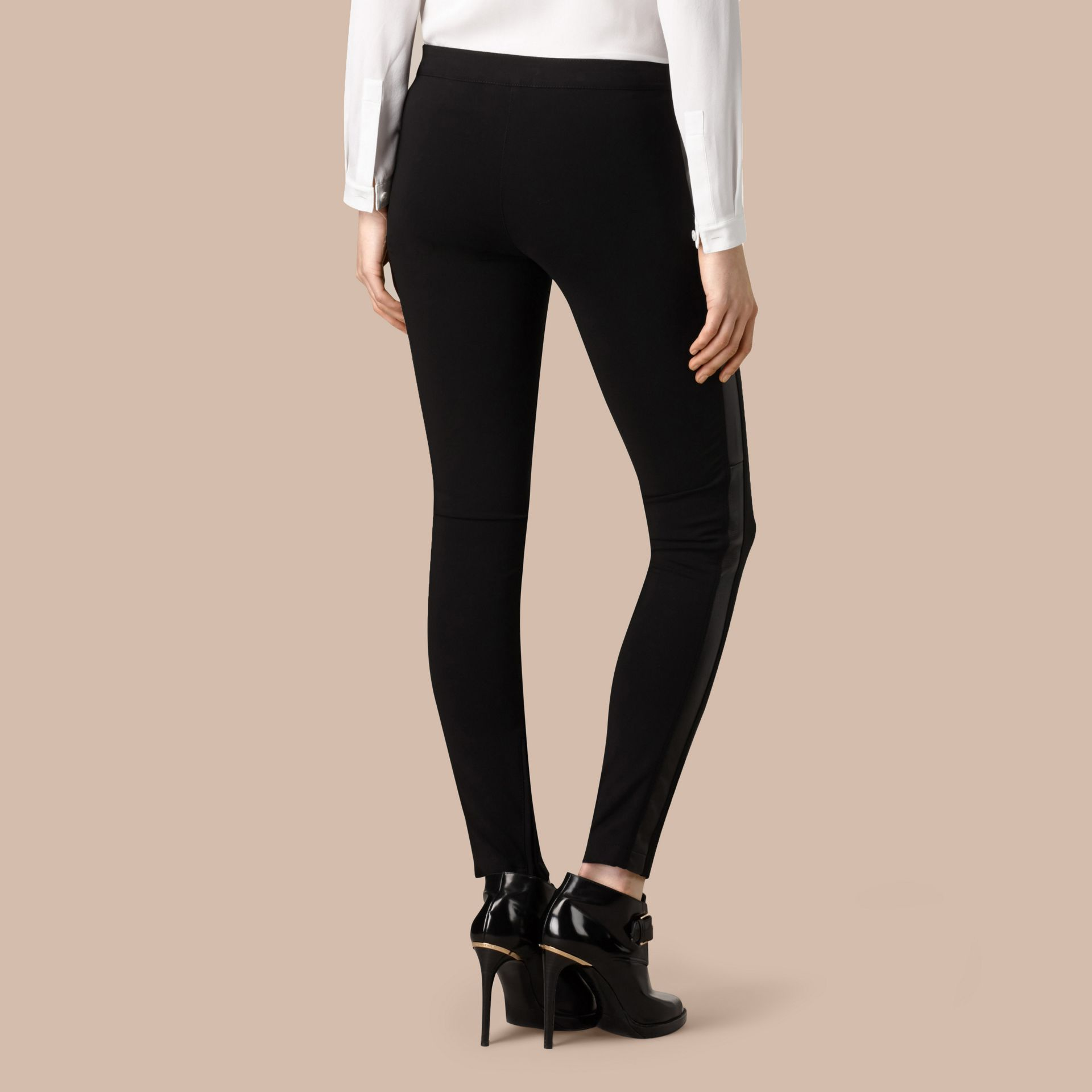 Black Skinny Fit Leather Panel Leggings - gallery image 3