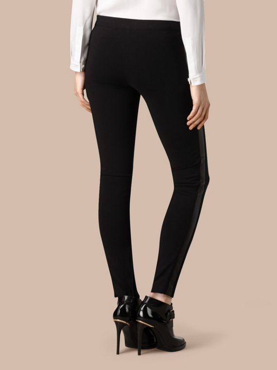 Black Skinny Fit Leather Panel Leggings - cell image 2
