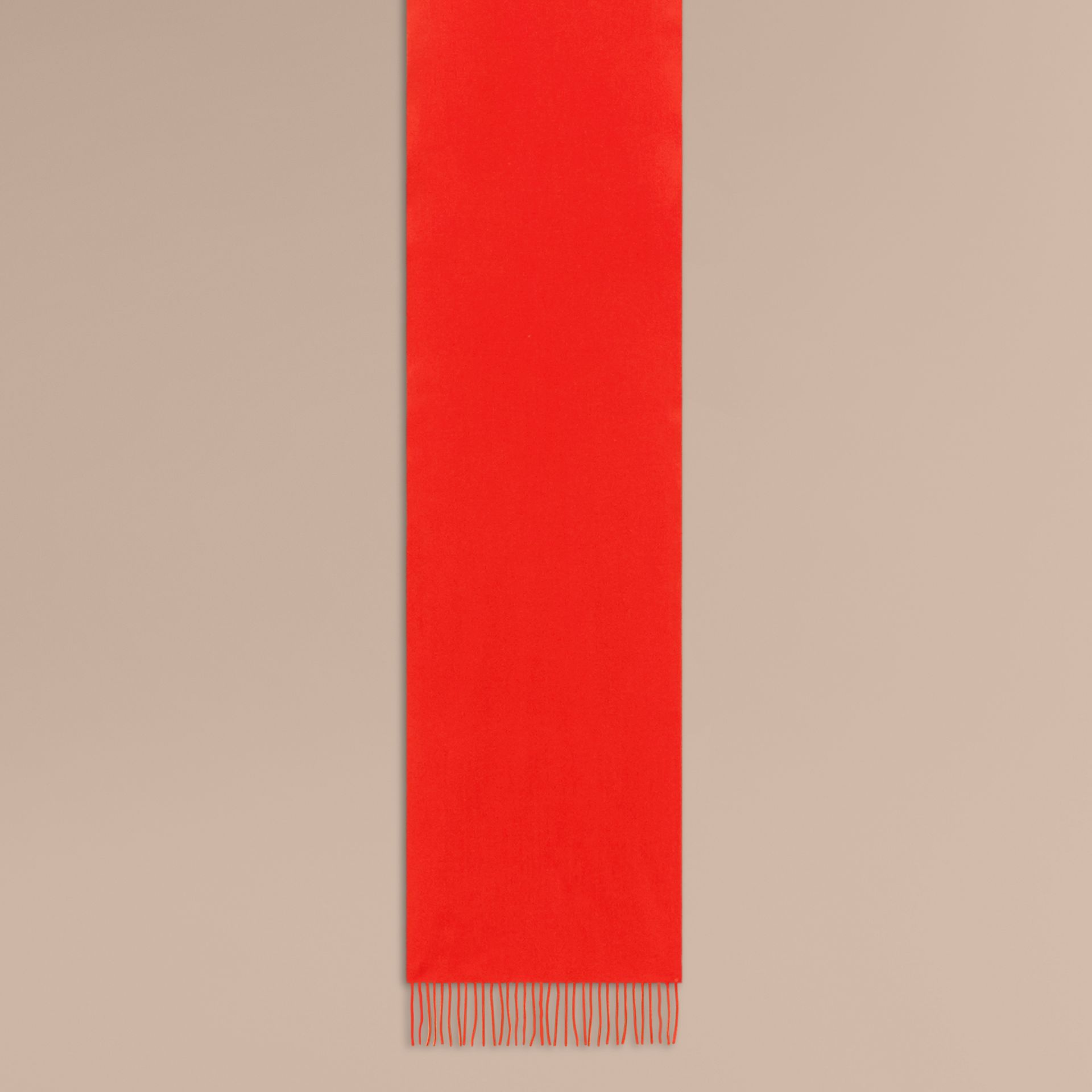 The Classic Cashmere Scarf in Bright Orange Red - Women | Burberry - gallery image 2