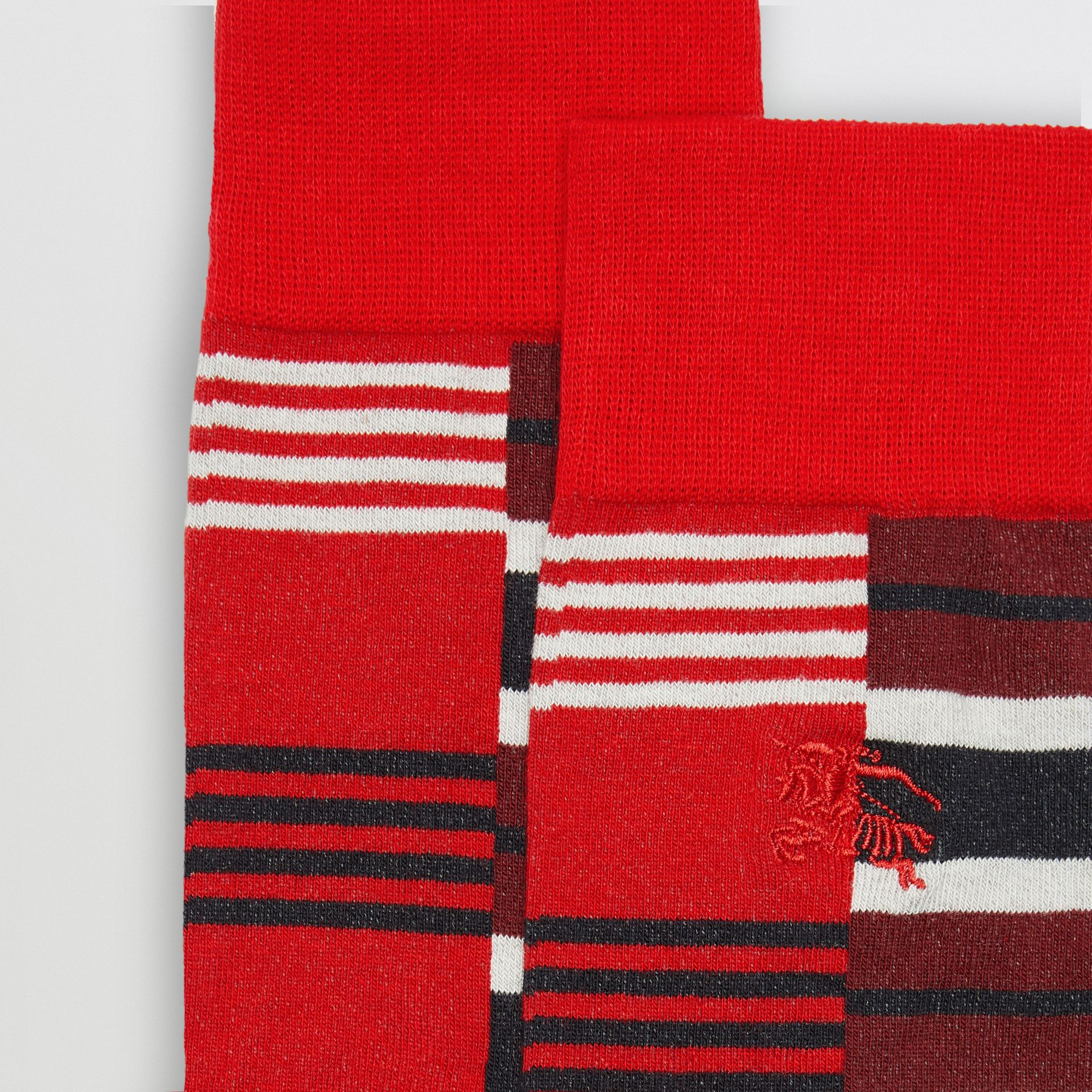 Contrast Stripe Cotton Blend Socks in Parade Red | Burberry Singapore - gallery image 1