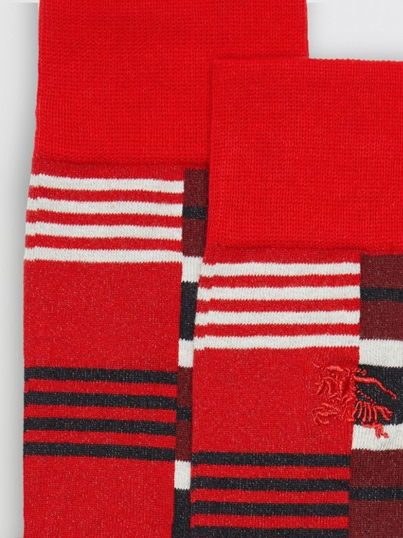 Contrast Stripe Cotton Blend Socks in Parade Red | Burberry - cell image 1
