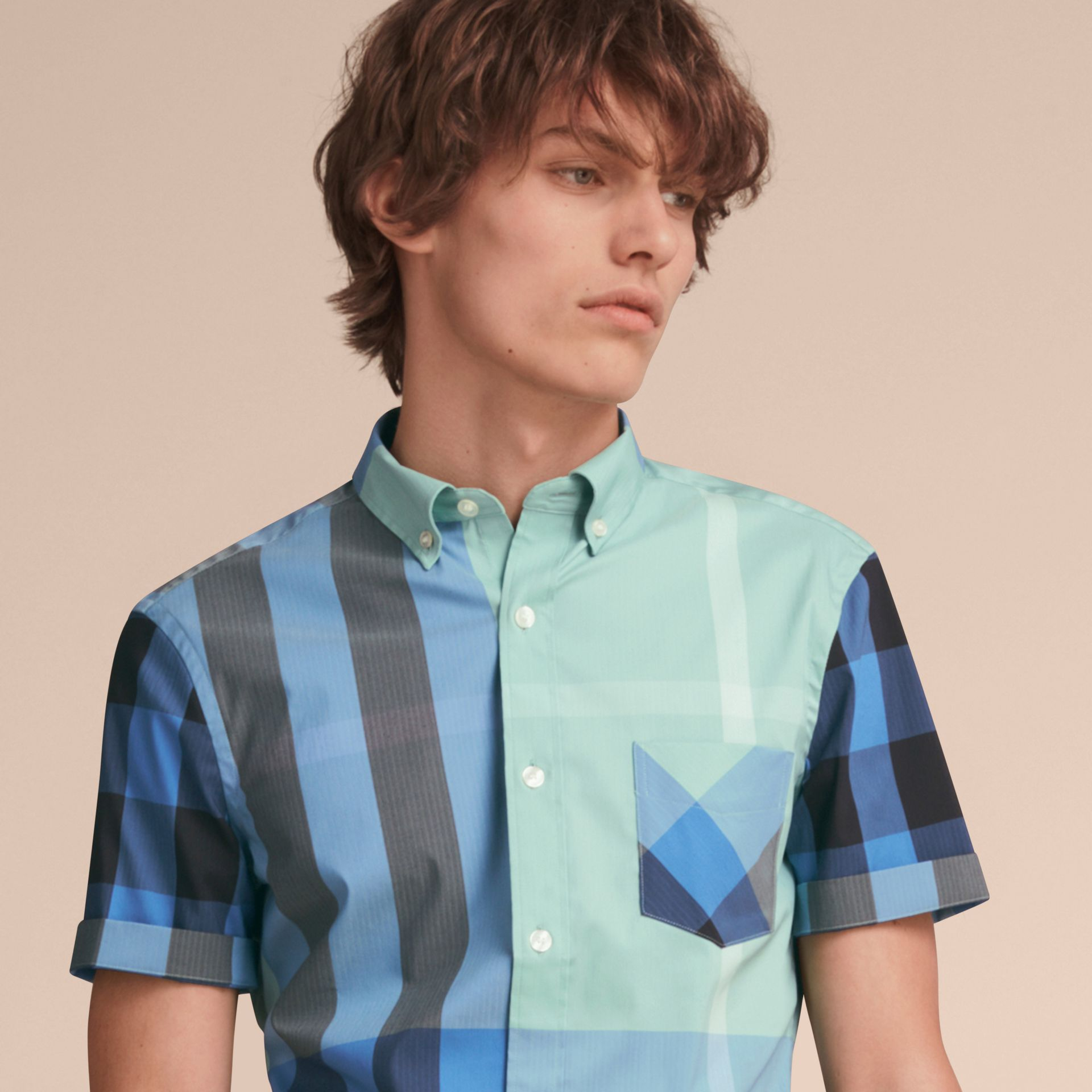 Short-sleeve Check Stretch Cotton Blend Shirt in Pale Opal - Men | Burberry - gallery image 5