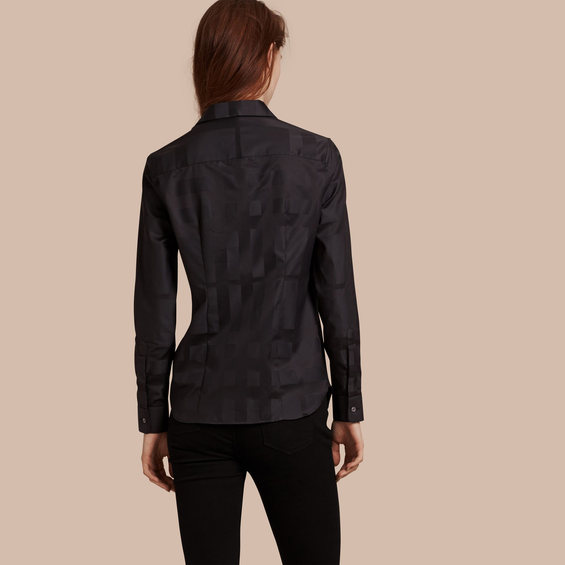 Check Jacquard Cotton Shirt in Black - Women | Burberry Australia - gallery image 3