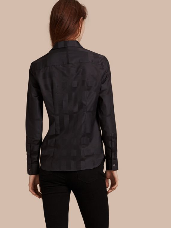 Check Jacquard Cotton Shirt in Black - Women | Burberry Australia - cell image 2