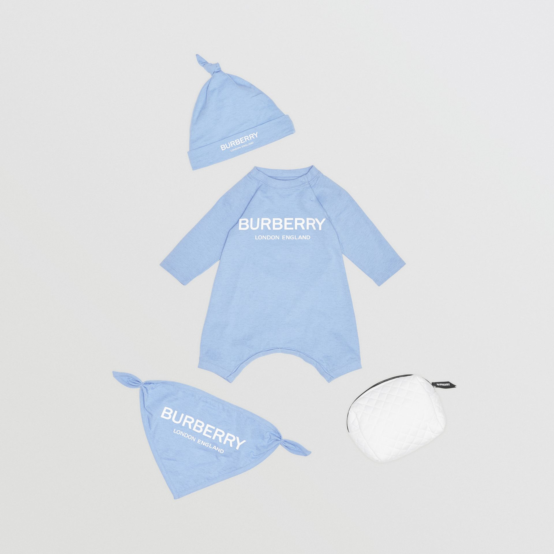 Logo Print Cotton Three-piece Baby Gift Set in Dusty Blue - Children | Burberry United Kingdom - gallery image 0
