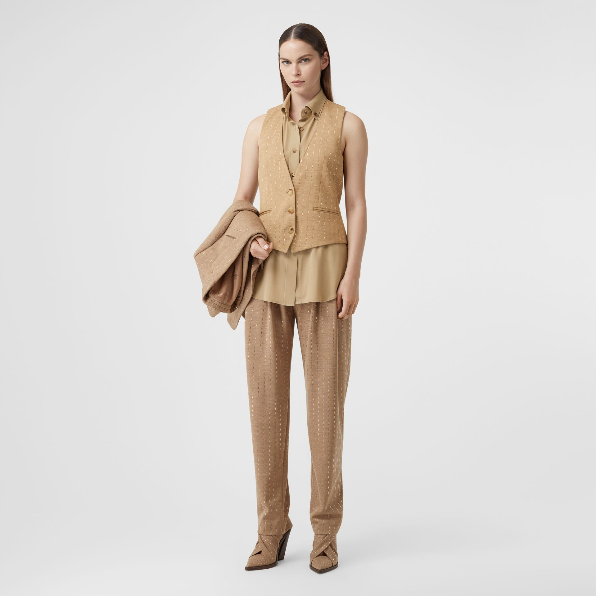 Shirt Detail Crystal Pinstriped Wool Blend Waistcoat in Pecan Melange - Women | Burberry - gallery image 0