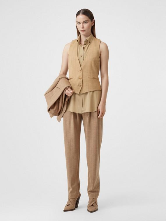 Gilet in misto lana gessata con cristalli e dettaglio stile camicia (Noce Pecan Mélange)
