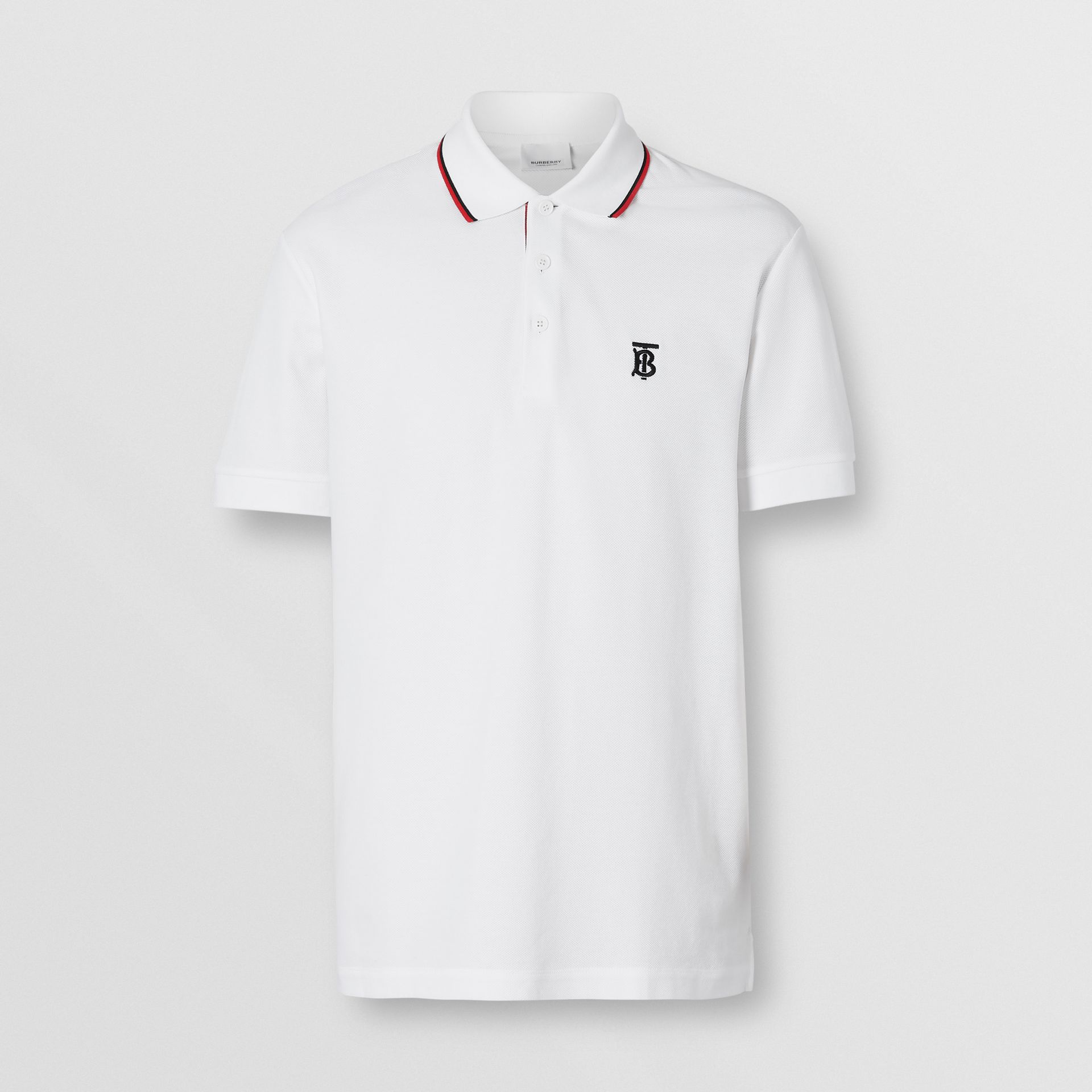 Icon Stripe Placket Cotton Piqué Polo Shirt in White - Men | Burberry United States - gallery image 3