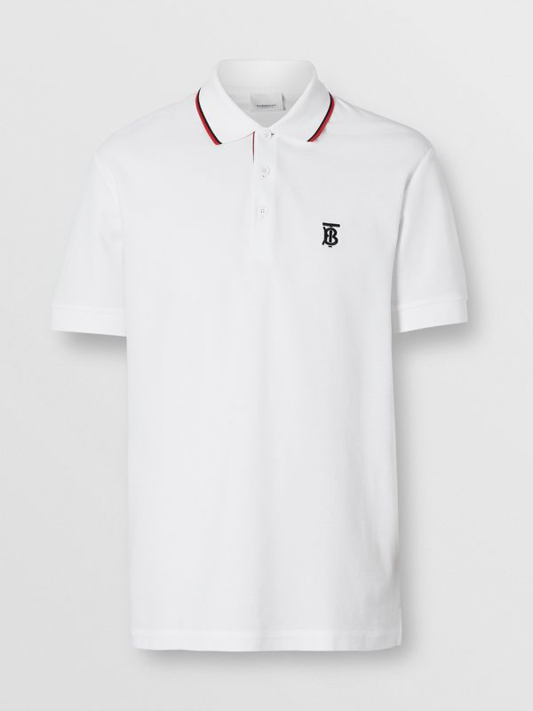 Icon Stripe Placket Cotton Piqué Polo Shirt in White - Men | Burberry United States - cell image 3