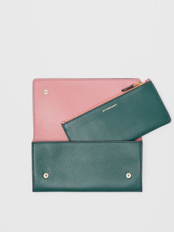 Two-tone Leather Continental Wallet in Dark Cyan - Women | Burberry United Kingdom - cell image 3