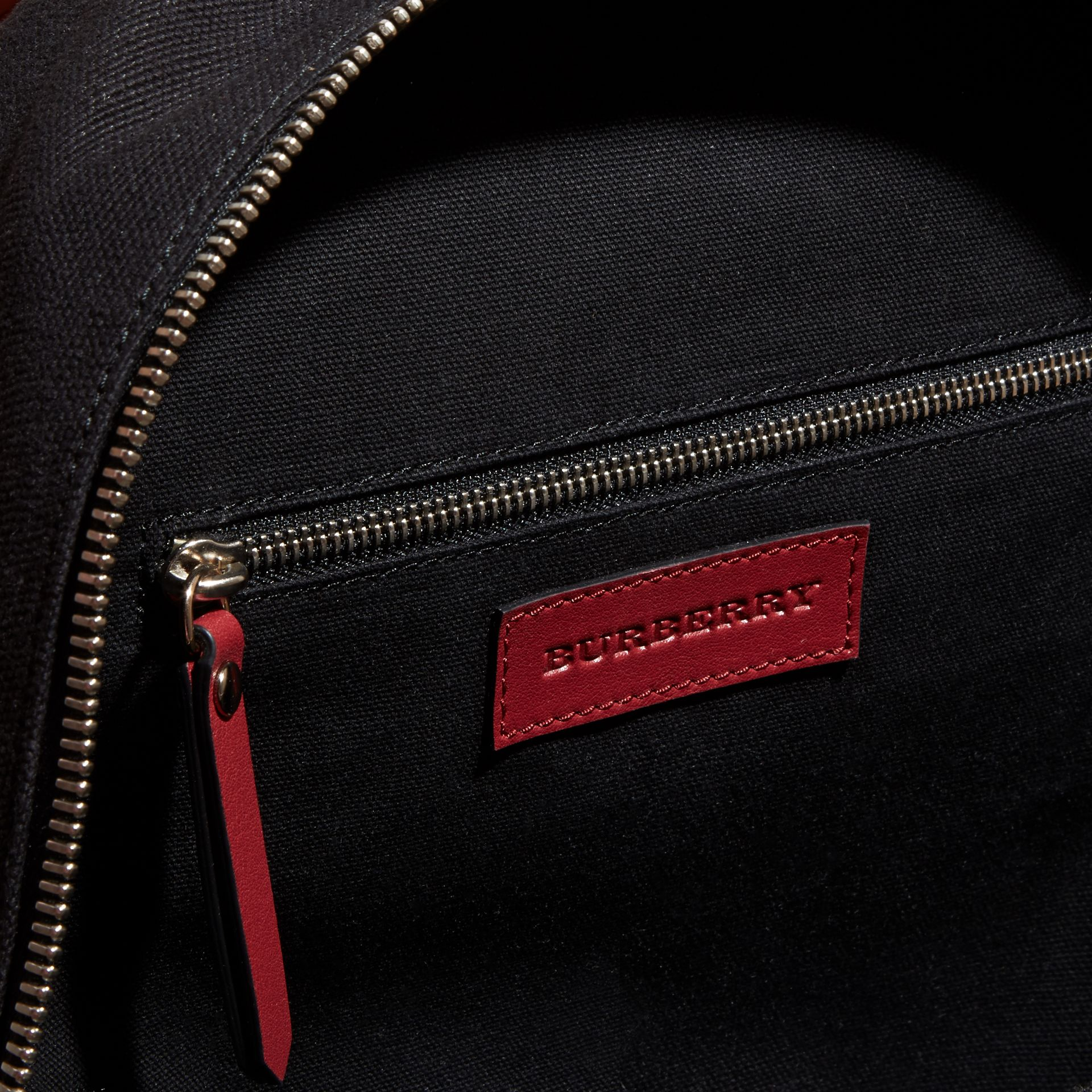 Parade red Appliquéd Weather Graphic Check and Leather Backpack - gallery image 5