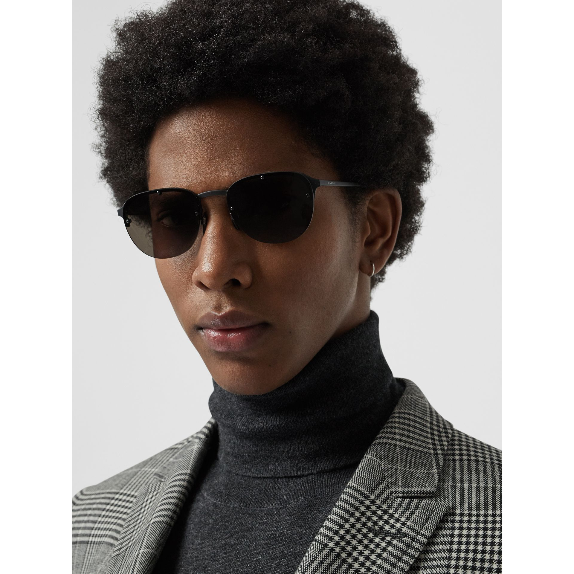 Round Frame Sunglasses in Black - Men | Burberry - gallery image 2
