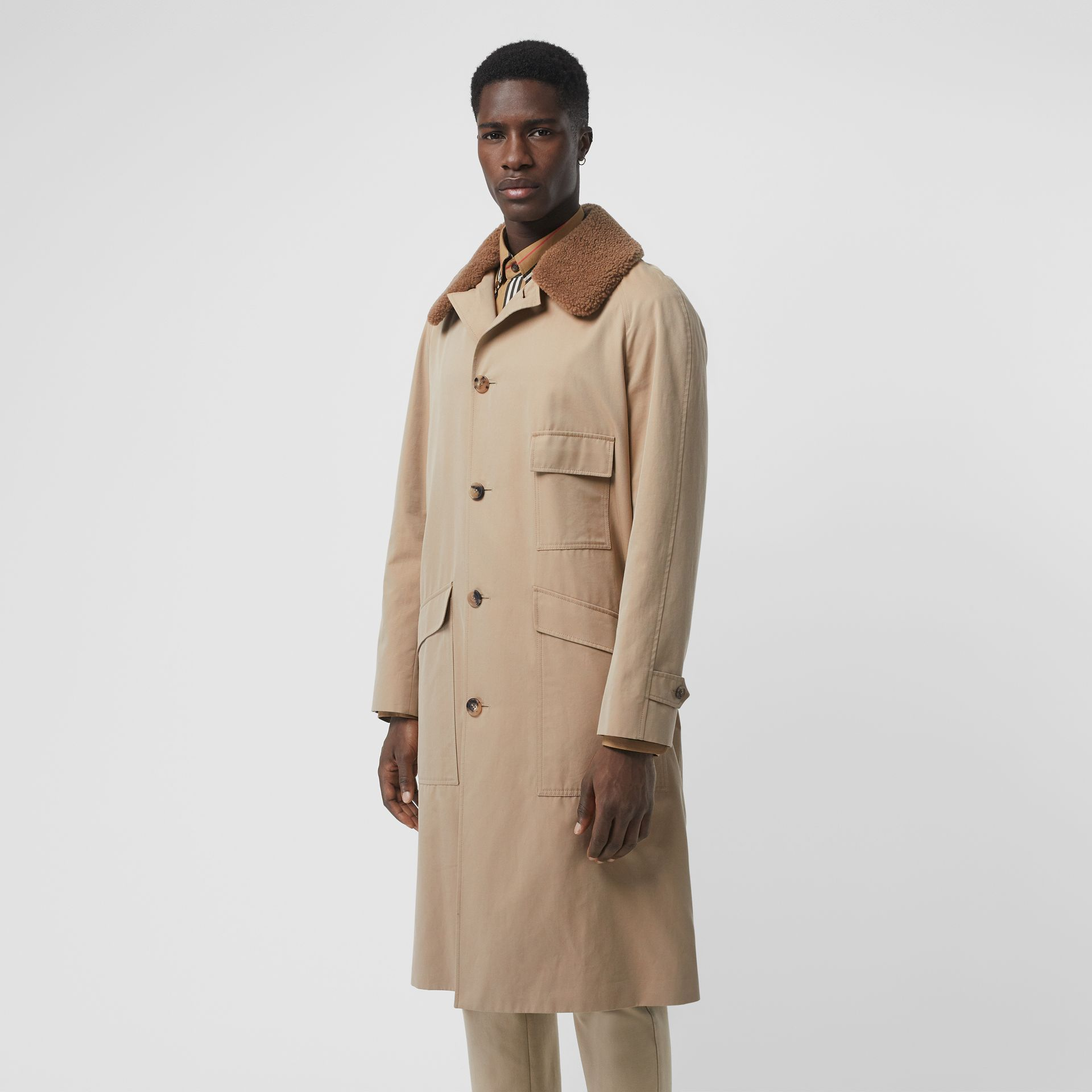 Detachable Shearling Collar Cotton Car Coat in Honey | Burberry - gallery image 6
