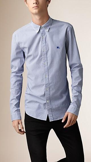 Camisa de algodão com estampa listrada