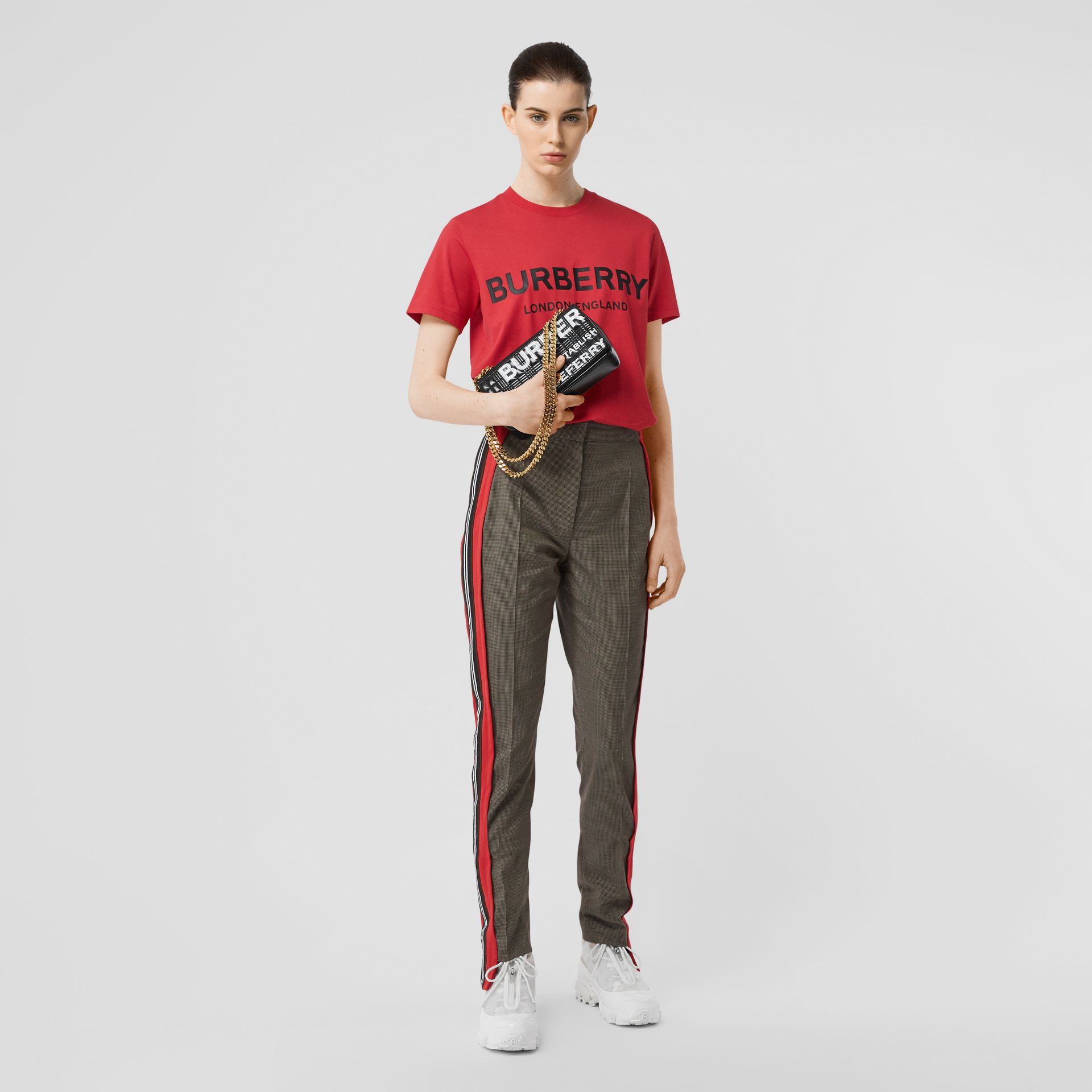 Logo Print Cotton T-shirt in Bright Red - Women | Burberry - gallery image 0