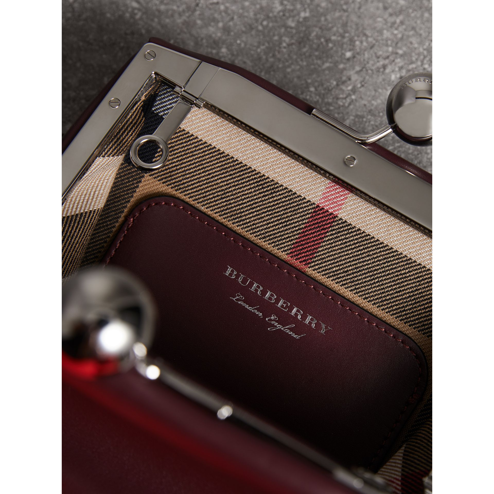 Small Leather Metal Frame Clutch Bag in Burgundy - Women | Burberry - gallery image 3