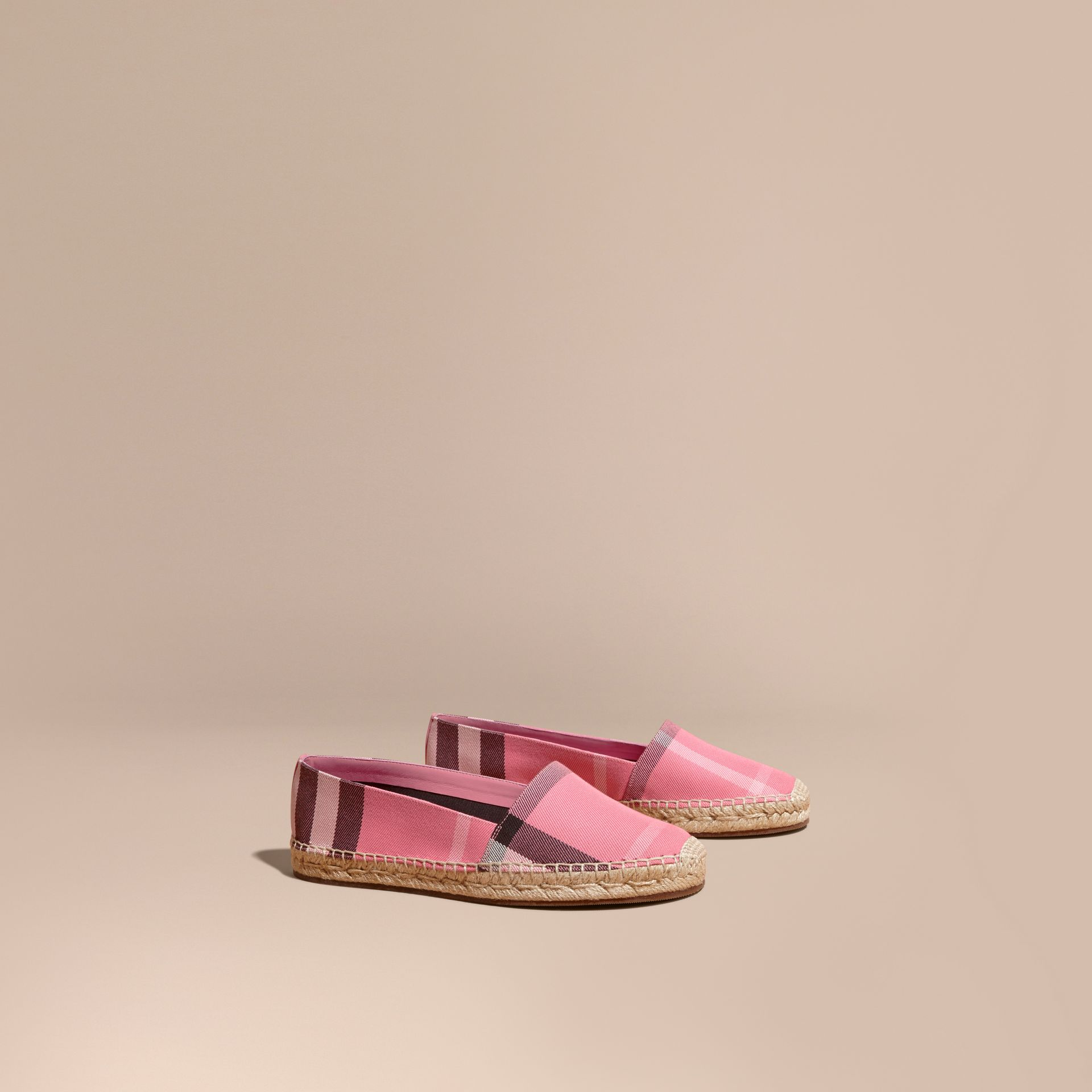 Leather Trim Canvas Check Espadrilles Rose Pink - gallery image 1