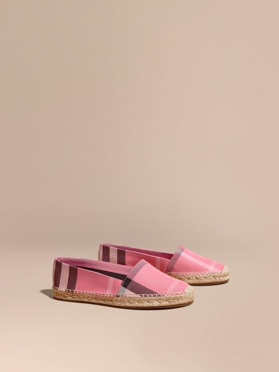 Leather Trim Canvas Check Espadrilles Rose Pink