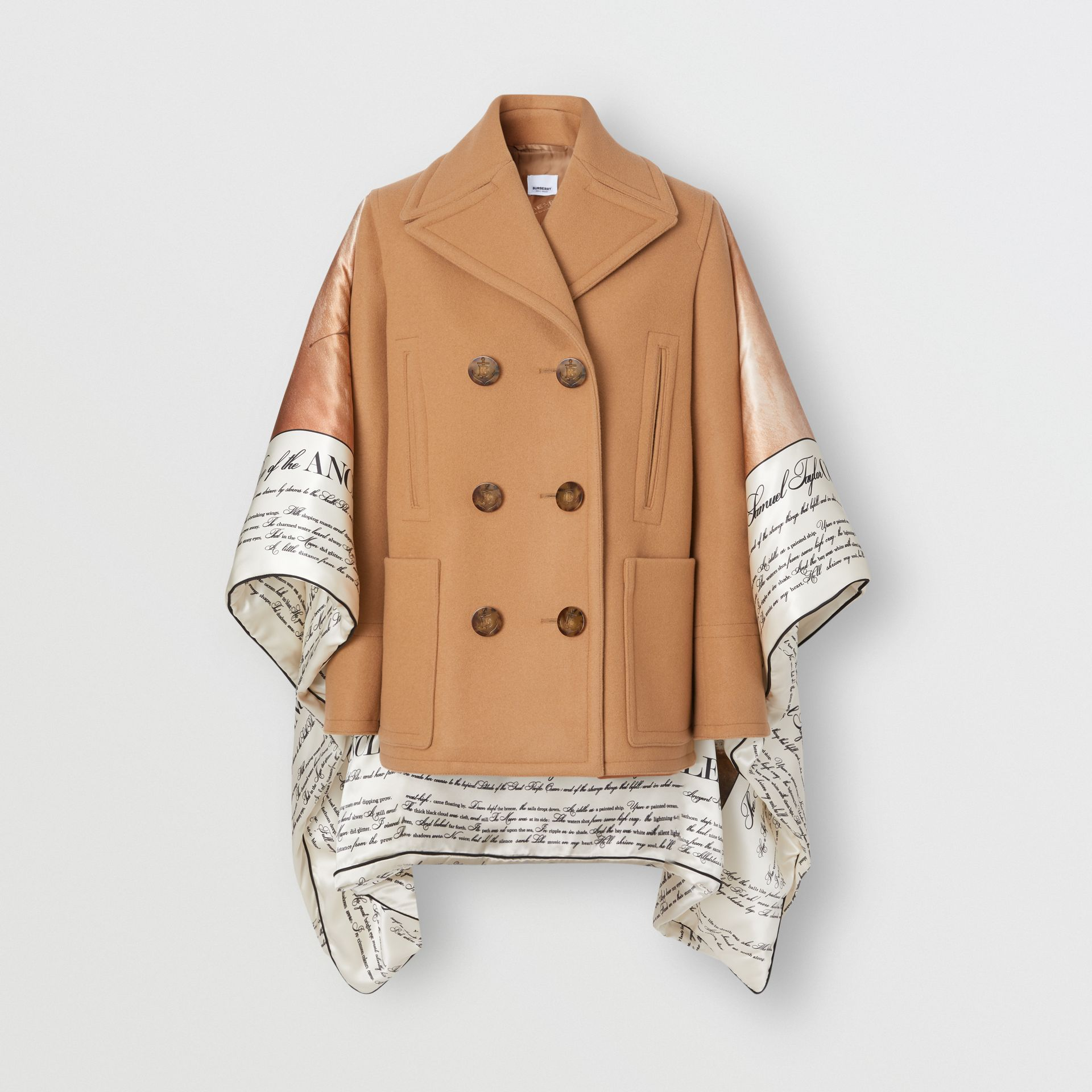 Mariner Print Blanket Detail Technical Wool Pea Coat in Warm Camel - Women | Burberry - gallery image 3